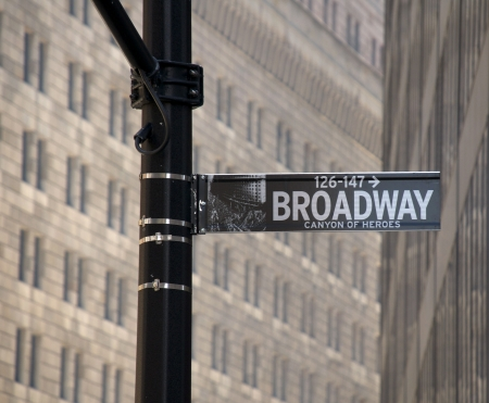 New Yorks Broadway street sign.