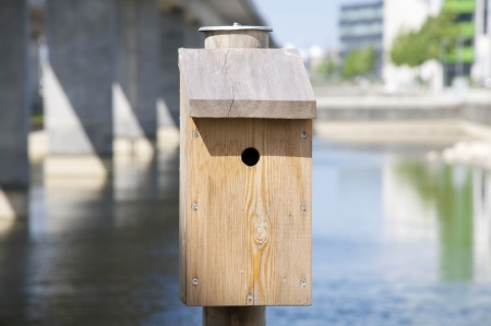 A rustic-looking bird house