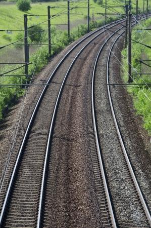 Train rails in landscape Stock Photo