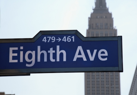 Eighth Avenue in NYC with empire state building in the background