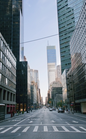 Morning street in New York city 新聞圖片