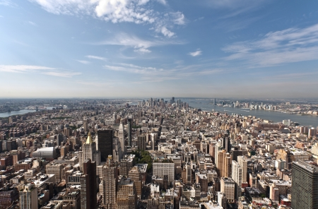 An aerial view of Lower Manhattan, New York and Hudson river photo