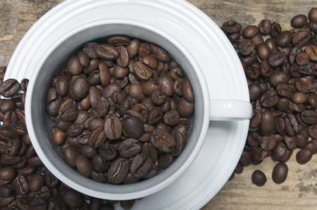 White cup and coffee beans Stock Photo