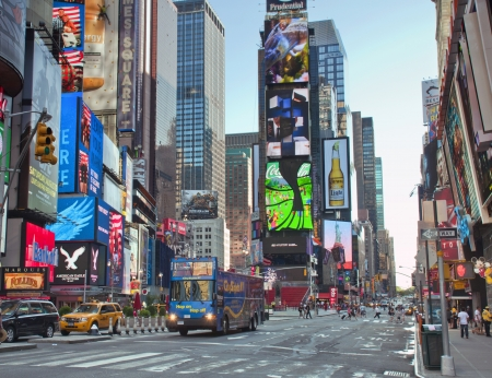 street: Times Square with commercial atmosphere in Midtown Manhattan in New York Cit
