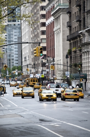 yellow taxi: New york city traffic with lots of yellow taxi cabs