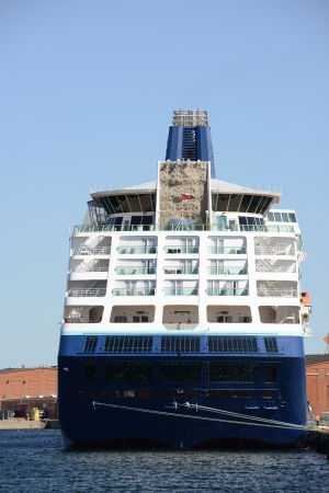 Cruise ship docked in the port Stock Photo