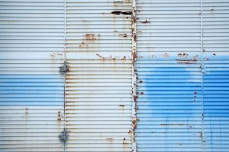 blue grungy metal door. Stock Photo