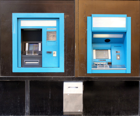 Blue ATM machines Stock Photo