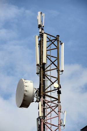 Mobile telephones tower,with different antennas and dishes