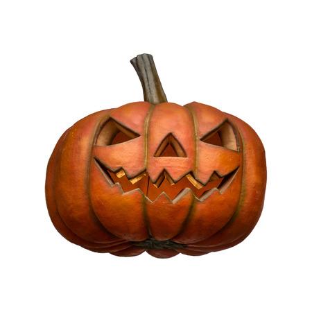 Big orange halloween pumpkin on white background