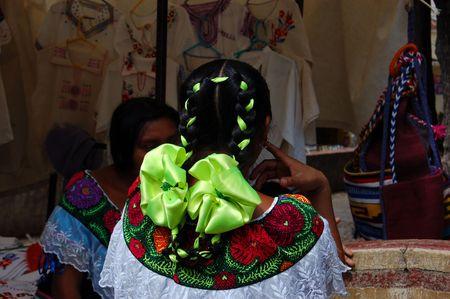 Mayan girl with green hair ribbon photo