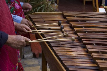 symphonic: Marimba players playing in Chiapas, Mexico