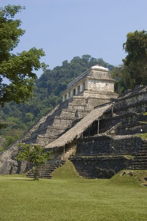 inscriptions: Temple of the Inscriptions in the mayan ruins at Palenque, Mexico