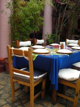 Mexican Restaurant showing table setting in Chiapas, Mexico           photo
