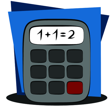 calculator isolated on geometric background vector