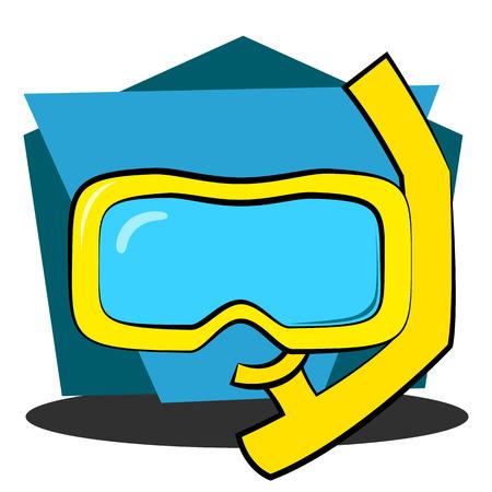 スキューバ ダイビングのマスクとシュノーケル  イラスト・ベクター素材