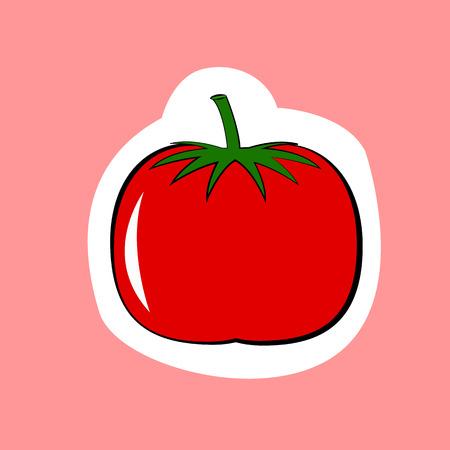 ピンクの背景に分離されたトマト野菜  イラスト・ベクター素材