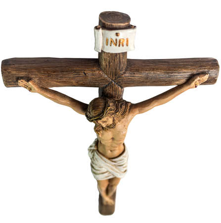 crucified: closeup of jesus crucified on the cross. This image showing the cross dive from above