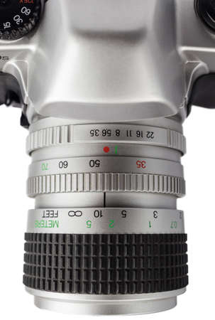 analog camera: closeup of an analog camera silver. view from above and in detail the lens Stock Photo