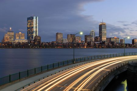 Twilight view of Boston skyline from Cambridge, Massachusetts