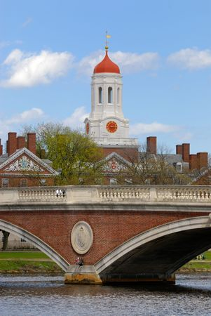 Harvard University Dunster House and John W. Weeks Bridge, Cambridge Stock Photo