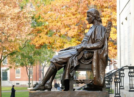 John Harvard statue at Harvard University photo