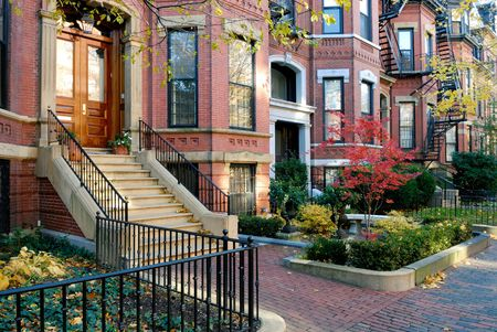Facades of Back Bay brownstones in the fall photo
