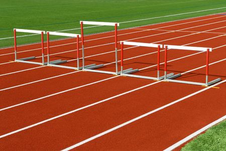 Unveven sized hurdles on race track for Justice, equality or fairness concept