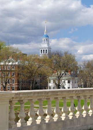 Blue dome of Lowell House, Harvard University from John W. Weeks Bridge