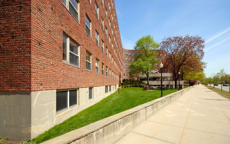 Baker House. College dormitory of MIT designed by Finnish architect Alvar Aalto at MIT, Cambridge, MA