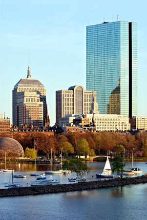 Office buildings and sailboats in Boston, Massachusetts Stock Photo
