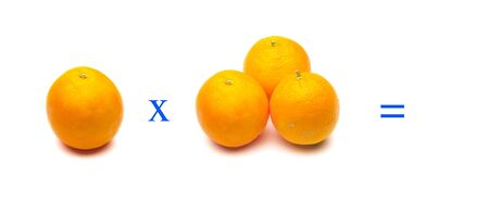 mathematical operations with oranges; Orange very healthy fruit full of vitamin C; simple multiplication problems, Stockfoto