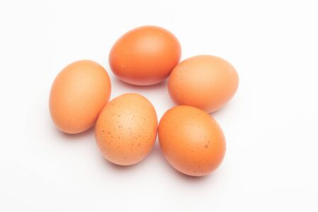 Raw chicken eggs, from the home market, prepared to be cooked with the inconvenience of cholesterol; used in the kitchen and in the bakery: essential ingredient to make sauces and desserts. Stock Photo