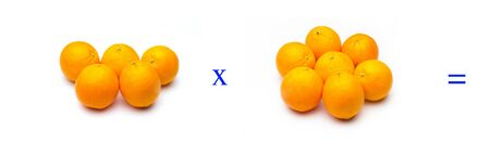 Math problems of simple multiplications with fruits, multiply with oranges, orange citrus fruit. Simple problems for children who are learning to multiply. Stock fotó