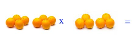 Math problems of simple multiplications with fruits, multiply with oranges, orange citrus fruit. Simple problems for children who are learning to multiply. Stockfoto