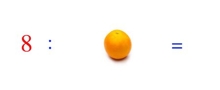 Simple problems of mathematical division with oranges, problems for children studying mathematics; learn to divide with fruits and objects and numbers, oranges and figures and numerical symbols Stock Photo