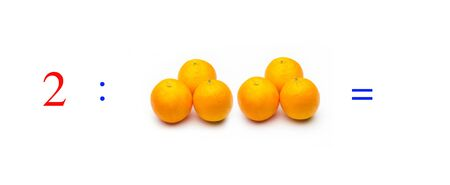 Simple problems of mathematical division with oranges, problems for children studying mathematics; learn to divide with fruits and objects and numbers, oranges and figures and numerical symbols Фото со стока