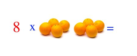 Simple problems of multiplying with oranges, mathematical problems for children who study and want to learn math and calculus; learn to multiply with fruits and numbers, oranges and figures and numerical symbols Imagens