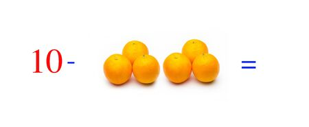Simple subtraction problems with oranges, mathematical problems for children who study and want to learn math and calculus; learn to subtract with fruits and numbers, oranges and figures and numerical symbols