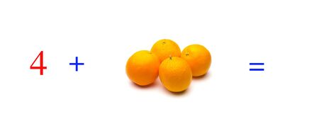 Simple problems of sums with oranges, mathematical problems for children who study and want to learn mathematics and calculus; learn to add with fruits and numbers, oranges and figures and numerical symbols Imagens - 138297350