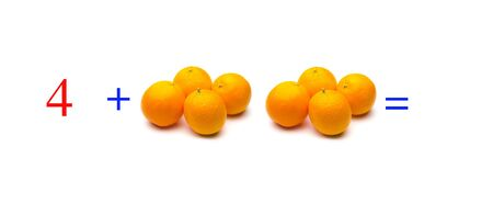 Simple problems of sums with oranges, mathematical problems for children who study and want to learn mathematics and calculus; learn to add with fruits and numbers, oranges and figures and numerical symbols