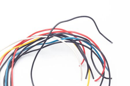 Copper cables of various colors, transmission of electric current through copper cables protected by colored plastics.