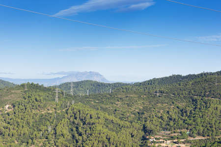 Views of the Montserrat Mountains from the mountains of Barcelona