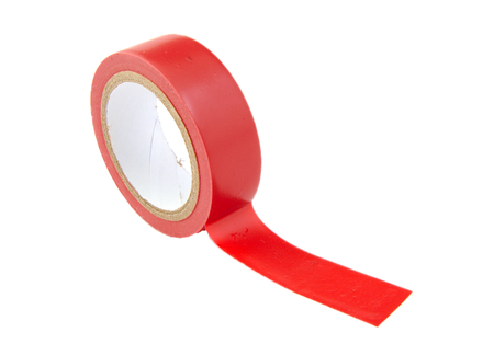 Red insulating tape isolated on white background