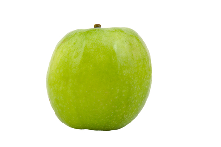 granny smith: Front view of Granny Smith green apple isolated on white