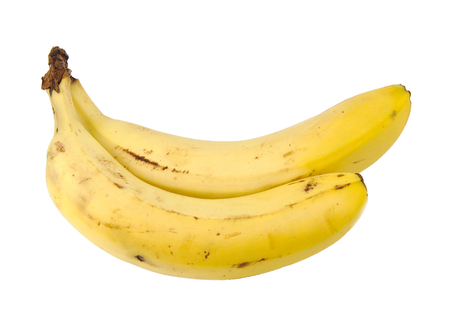 frontal view: Frontal view of two bananas isolated on a white background