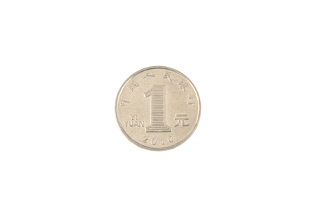 Closeup view of one Chinese yuan coin isolated on white background,