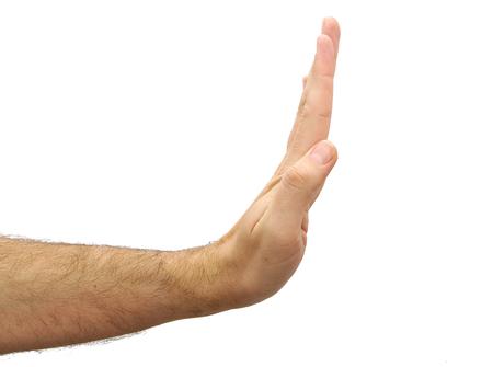 Hand die stop gebaar op een witte achtergrond Stockfoto