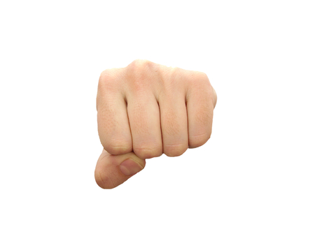 Caucasian man fist isolated on white background Reklamní fotografie
