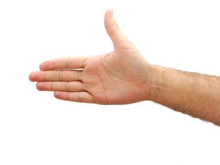 hand palm: Hand showing a thumb up isolated on white background Stock Photo